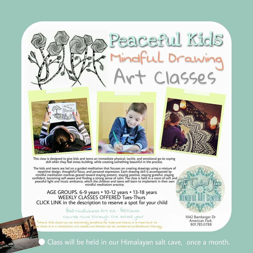 peaceful kids mindful drawing art class